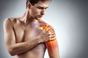 Man experiencing shoulder pain with illustrations