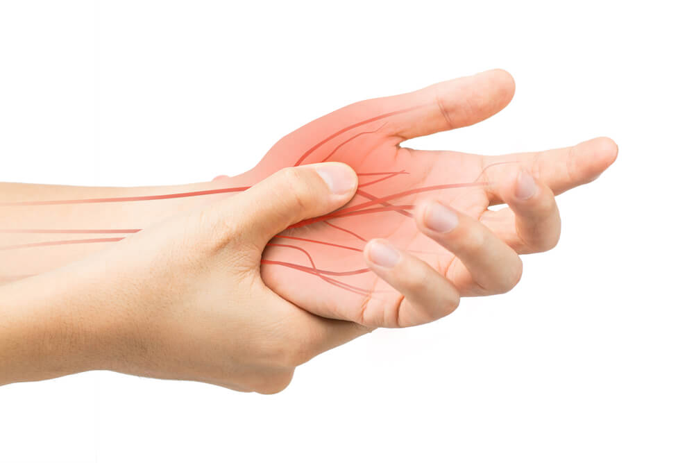 Hand experiencing a nerve pain